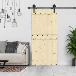 Porte coulissante Champêtre en épicéa brut ou colorée